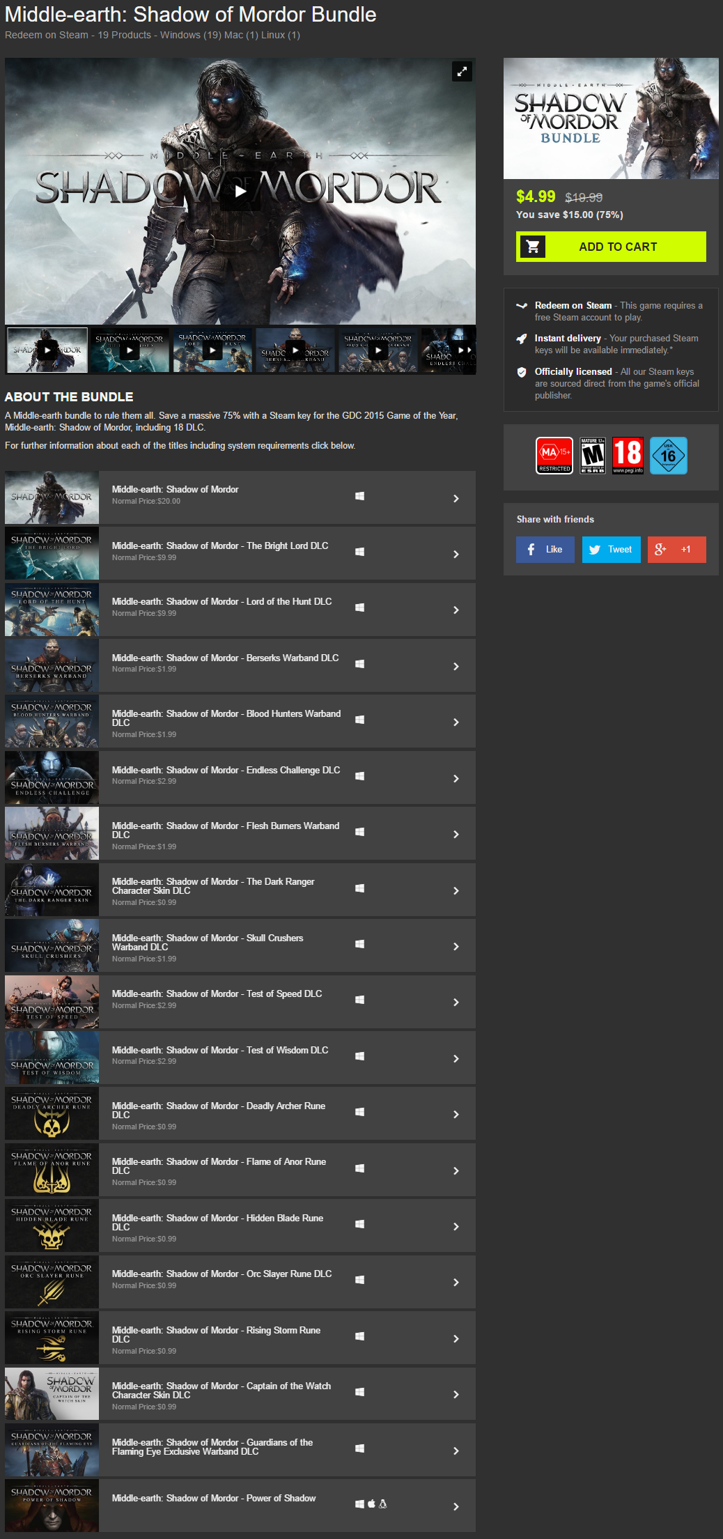 Middle earth  Shadow of Mordor Bundle.png