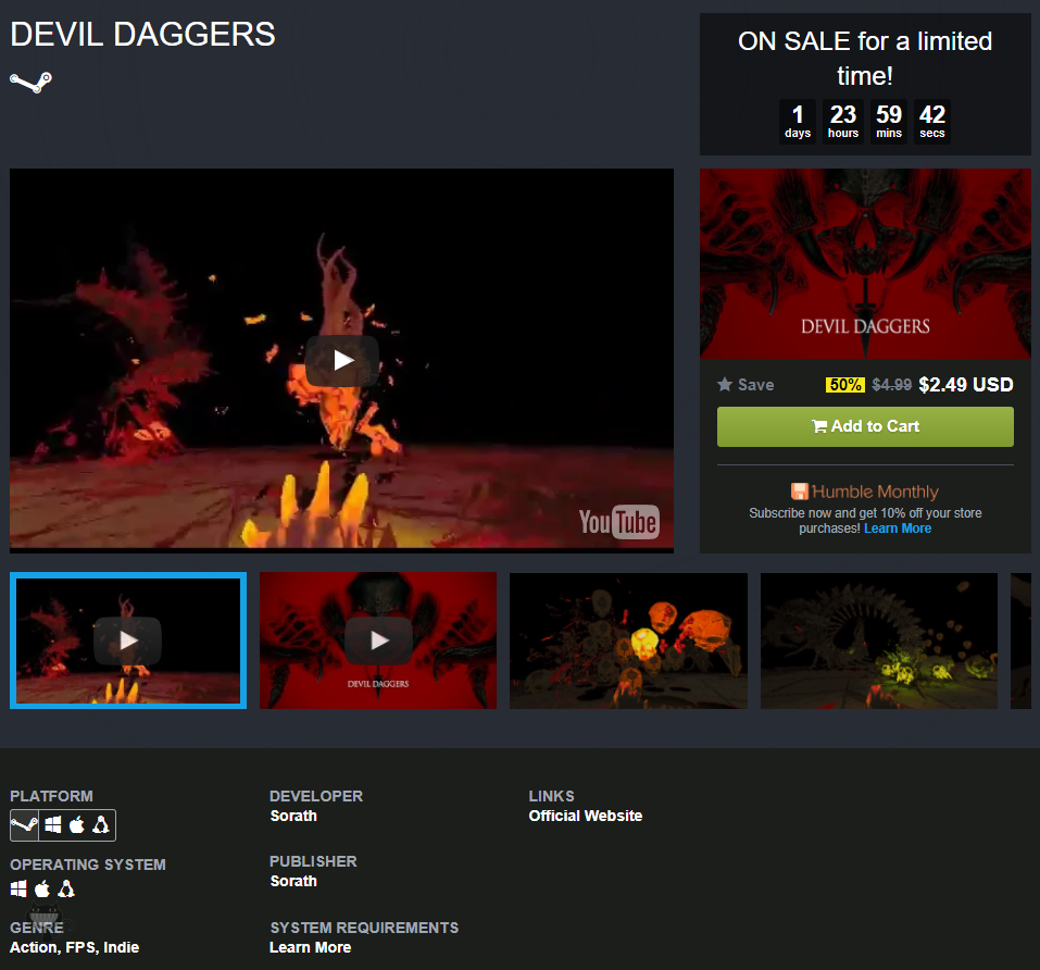 Daily Deal] Devil Daggers -50% - 게임 할인/무료 - ITCM