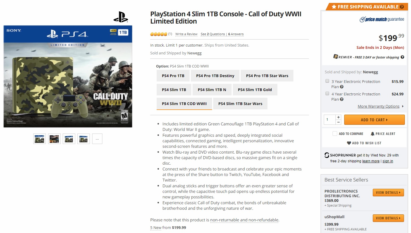 PlayStation 4 Slim 1TB Console - Call of Duty WWII Limited Edition 199.99$.jpg